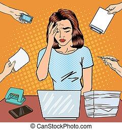 multi, mujer, arte, oficina, empresa / negocio, work., ilustración, vector, tasking, taponazo, tiene, dolor de cabeza