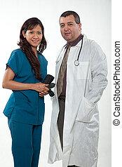 multi-, nő, orvosi, bájos, befog, profi, ethnicity, ember