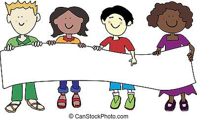 multi, niños, bandera, tenencia, étnico