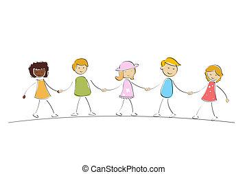 multi, niños, racial