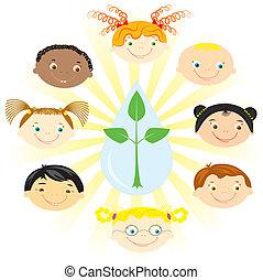 multi, niños, racial, girls., nacionalidad, niños
