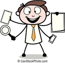 multi, oficina, -, ilustración, vector, tasking, empleado, hombre de negocios, caricatura