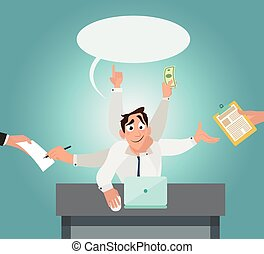 multi, oficina, seis, trabajador, tasking, manos