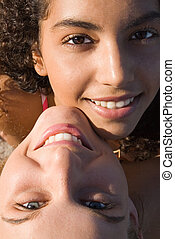 multi, pareja, racial, adolescentes