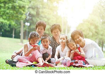 multi, park, generacje, rodzina, asian
