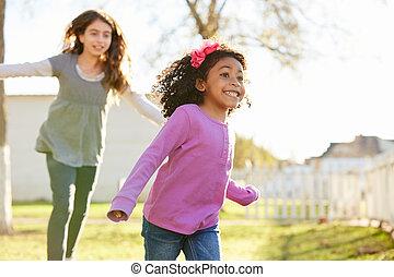 multi, park, girls lopen, ethnische , spelend, geitje