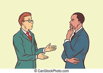 multi, parler., deux, hommes affaires, groupe ethnique