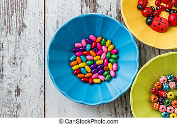 multi, perles, coloré