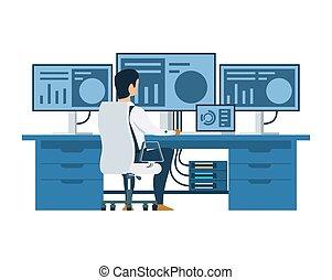 multi, pracujący, komputer, samiec, wystawa, inżynier