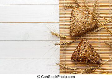 multi, raccoglitori, frumento, girasole, modellato, semi, triangolare, lino, sesamo, spruzzato, grano, orzo, semi, piccolo, parecchi, intero, bread