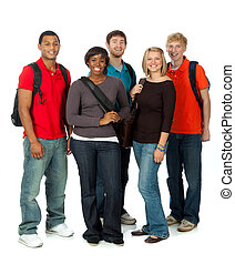 multi-racial, étudiants, blanc, collège