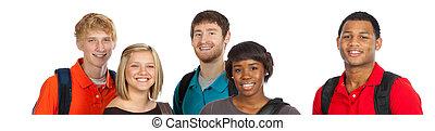 multi-racial, étudiants, collège, groupe