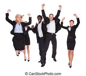multi-racial, 幸せ, グループ, ビジネス 人々