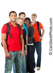 multi-racial, 生徒, 大学, グループ