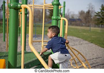 multi-racial, 男の子, 公園
