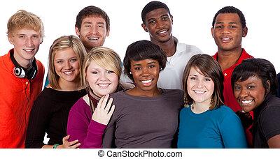 multi-racial, estudantes, branca, faculdade
