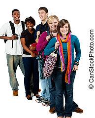 multi-racial, estudantes, faculdade, grupo