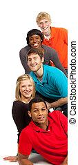 multi-racial, estudiantes, colegio, grupo