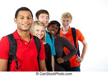 multi-racial, estudiantes de la universidad, blanco