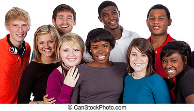 multi-racial, etudiants collège, blanc