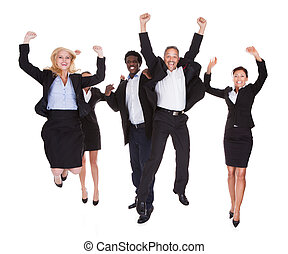 multi-racial, feliz, grupo, empresarios