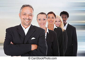 multi-racial, grupo, empresarios