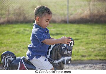 multi-racial, niño, parque