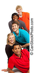 multi-racial, scholieren, universiteit, groep