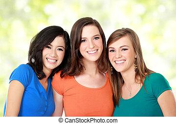multi racial, três meninas, melhor amigo