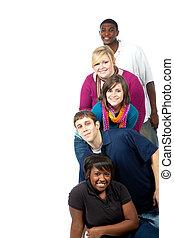 multi-racial, universiteitsstudenten, op wit