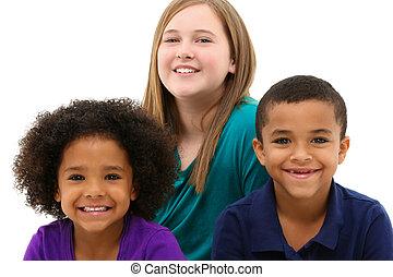 multi-rasowy, portret, jedyny, dzieci, rodzina