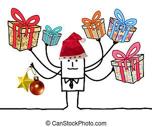 multi, regalos, santa sombrero, caricatura, rojo, hombre