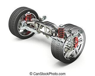 multi, rem, auto, schakel, ophanging, wheels., achterkant