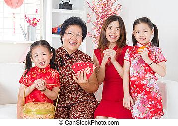 multi, rodzina, chińczyk, świętować, asian, rok, nowy, generacje