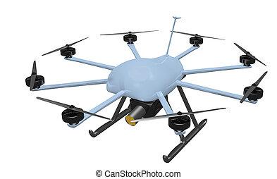 multi rotor drone above - sky blue, multi-rotor surveillance...