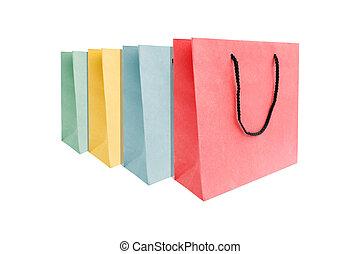 multi, sacs papier, coloré, achats, groupe