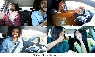 Cool people singing and dancing in car