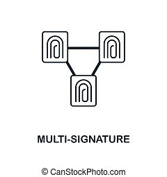 Multi-Signature icon. Monochrome style design from blockchain icon collection. UI and UX. Pixel perfect multi-signature icon. For web design, apps, software, print usage.