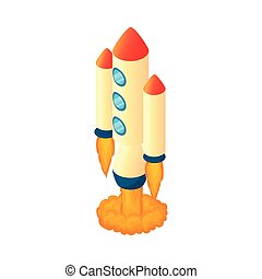 Multi stage rocket icon, cartoon style