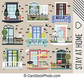 multi-storey brick house with different balconies and items of people of different professions who live in it. Beautiful balconies for recreation and work.