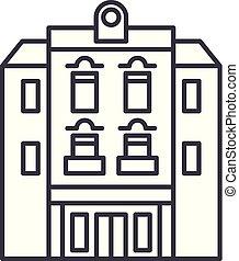 Multi storey building line icon concept. Multi storey building vector linear illustration, symbol, sign