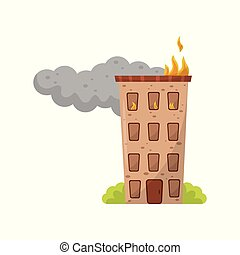 Multi storey house is on fire vector Illustration on a white background