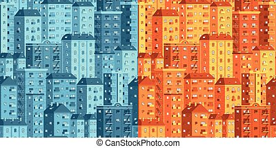 Multi-storey houses seamless vector pattern