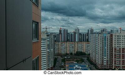 Multi-storey residential buildings timelapse