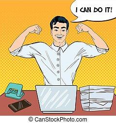 multi, sztuka, work., biuro, pomyślny, laptop, ilustracja, hukiem, wektor, tasking, biznesmen