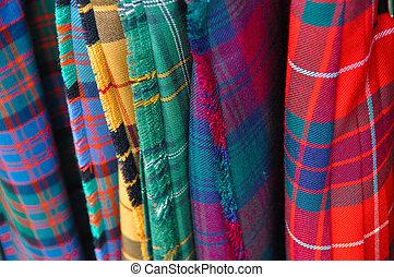 multi, tartán, color, faldas escocesas, escocés, varios
