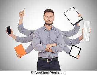 Multi-tasking - Cheerful man with office supplies in six...