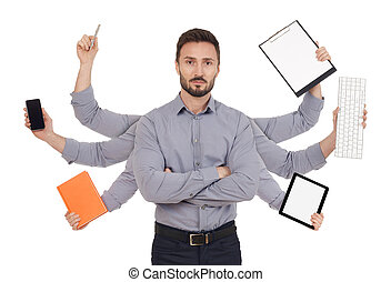 Multi-tasking - Confident man with office supplies in six...