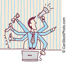 multi tasking, /, hombre de negocios estresado, ocupado