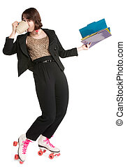 Multi-Tasking Office Worker - Happy office worker with pink...